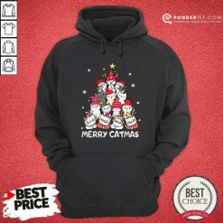 Cats Merry Catmas Merry Christmas Tree Hoodie - Desisn By Pondertee.com