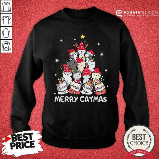 Cats Merry Catmas Merry Christmas Tree Sweatshirt - Desisn By Pondertee.com
