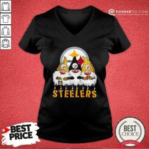 Pittsburgh Steelers Gnomes Merry Christmas V-neck - Desisn By Pondertee.com