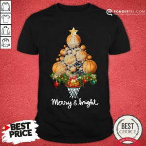 Volleyball Merry And Bright Christmas Tree Shirt - Desisn By Pondertee.com