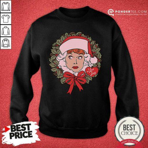 I Love Lucy Christmas Wreath Sweatshirt - Desisn By Pondertee.com