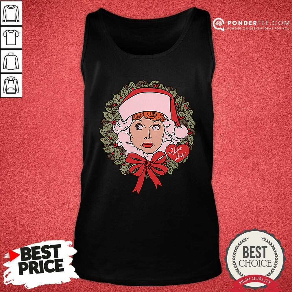 I Love Lucy Christmas Wreath Tank Top - Desisn By Pondertee.com