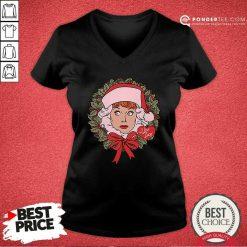 I Love Lucy Christmas Wreath V-neck - Desisn By Pondertee.com