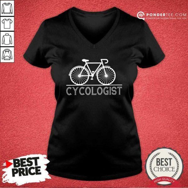 The Bicycle Cycologist V-neck - Desisn By Pondertee.com