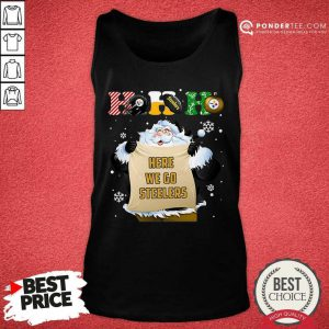 Pittsburgh Steelers Ho Ho Ho Santa Here We Go Steelers Merry Christmas Tank Top - Desisn By Pondertee.com