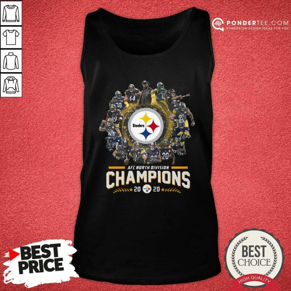 Pittsburgh Steelers Team Football 2020 Afc North Division Signatures Tank Top - Desisn By Pondertee.com