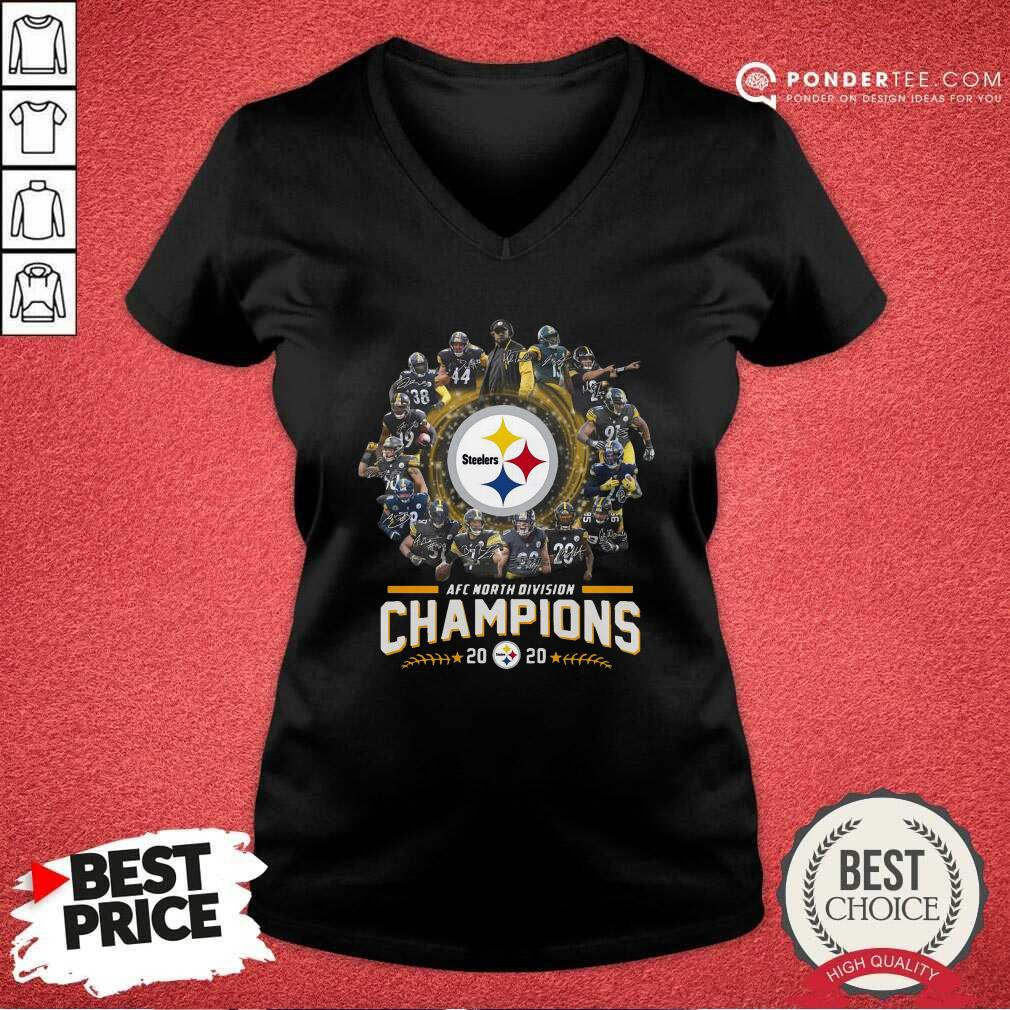 Pittsburgh Steelers Team Football 2020 Afc North Division Signatures V-neck - Desisn By Pondertee.com