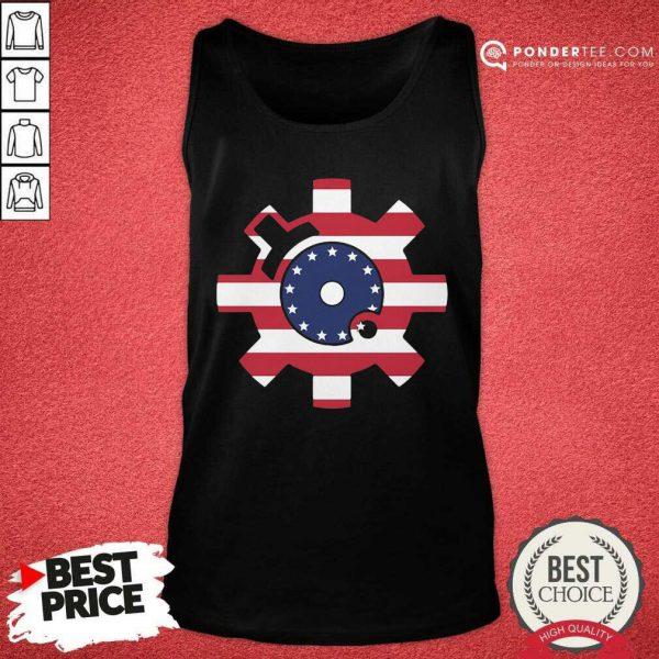 Betsy Ross Flag Bolt Face American Flag Tank Top - Desisn By Pondertee.com