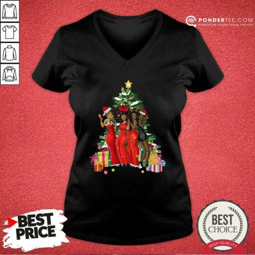 Girl Magic Merry Christmas Tree Collection V-neck - Desisn By Pondertee.com