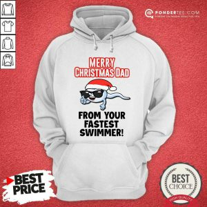Merry Christmas Dad From Your Fastest Swimmer Hoodie - Desisn By Pondertee.com