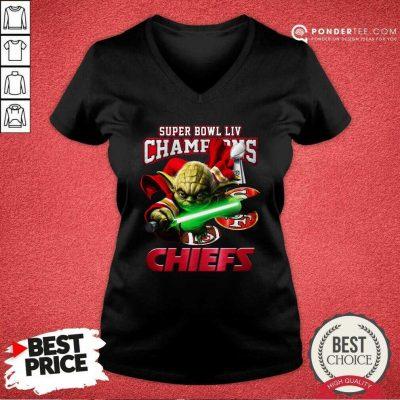 Yoda Super Bowl LIV Champions Kansas City Chiefs V-neck - Desisn By Pondertee.com