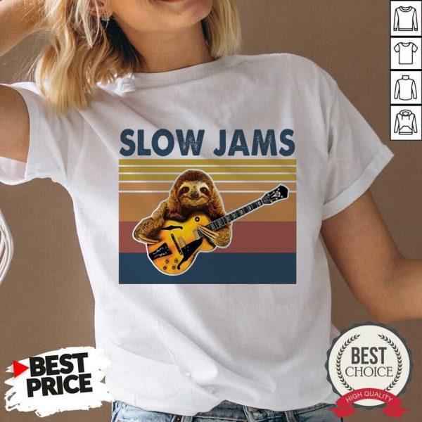 Hot Sloth Playing Guitar Slow Jams Vintage V-neck