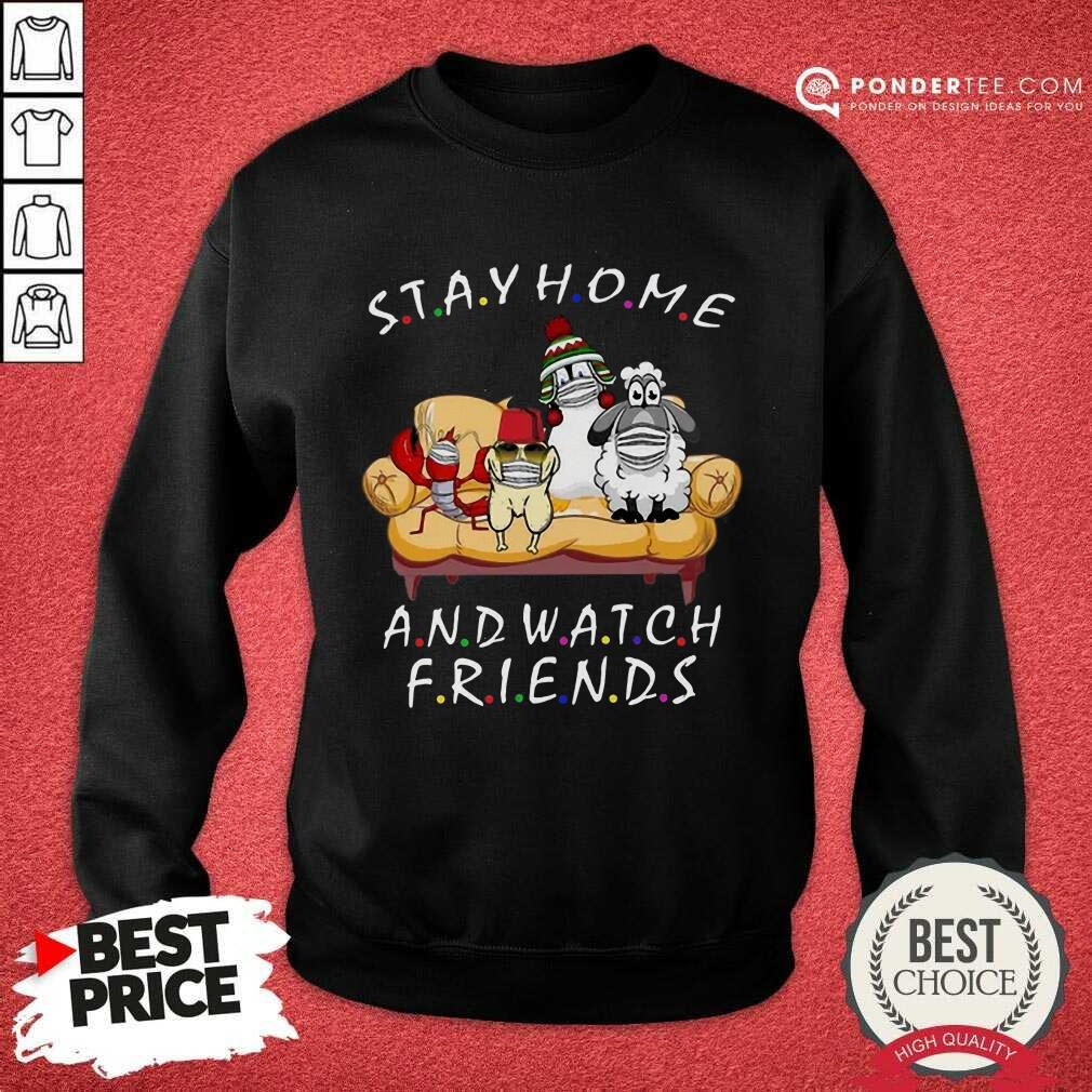 Perfect Pets Stay Home And Watch Friends Cartoon COVID-19 Sweatshirt