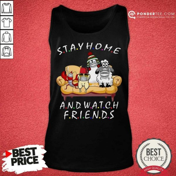Perfect Pets Stay Home And Watch Friends Cartoon COVID-19 Tank Top