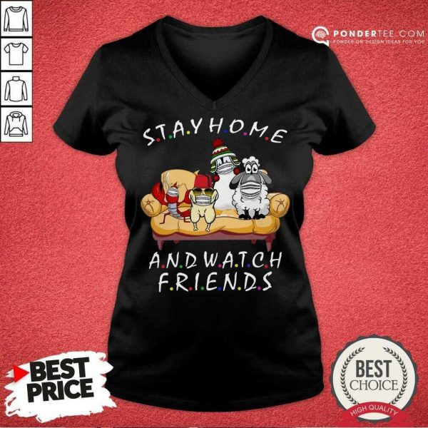 Perfect Pets Stay Home And Watch Friends Cartoon COVID-19 V-neck