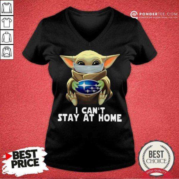 Perfect Star Wars Baby Yoda Mask Hug Subaru I Can't Stay At Home V-neck
