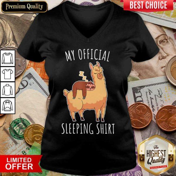 Nice Sloth And Alpaca My Official Sleeping V-neck