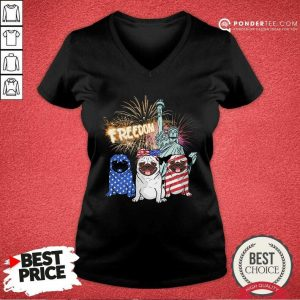 Freedom Pug American Flag V-neck