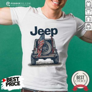 Jeep Car With American Flag Shirt