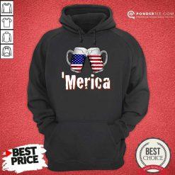 Merica Beer American Flag Hoodie
