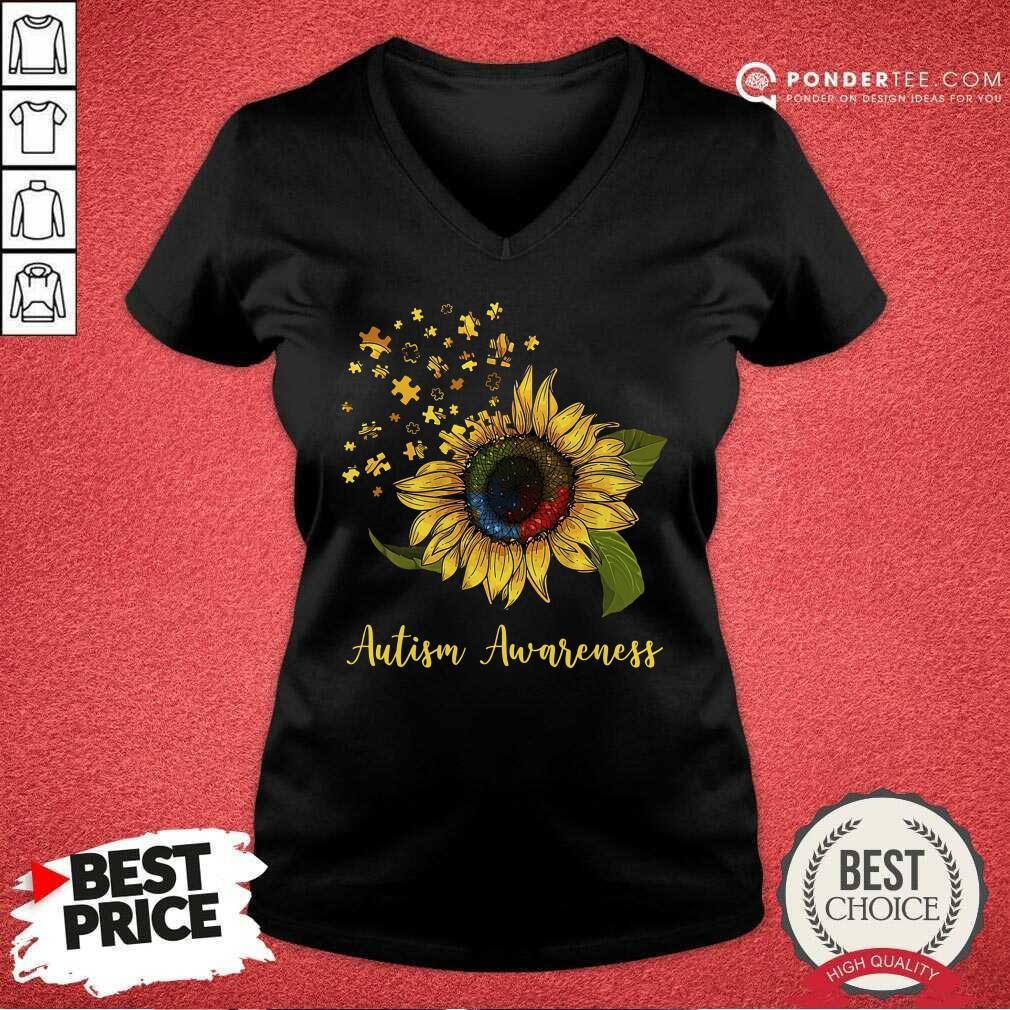 Cute Sunflower Autism Awareness V-neck