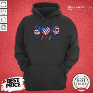 Hippie Peace Love America Flag Sunflower Hoodie