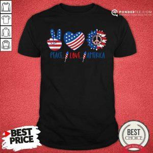 Hippie Peace Love America Flag Sunflower Shirt
