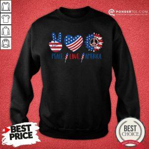 Hippie Peace Love America Flag Sunflower SweatShirt