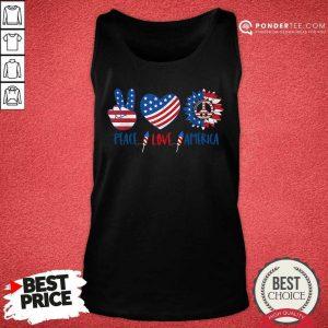 Hippie Peace Love America Flag Sunflower Tank Top