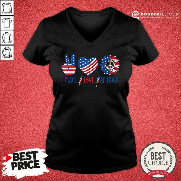 Hippie Peace Love America Flag Sunflower V-neck
